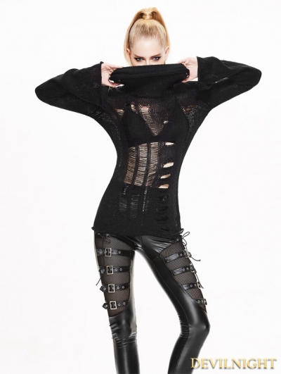 Black Gothic Hollow-Out Holes Sweater