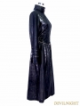 Black and Sliver Gothic Punk Metal PU Coat for Women