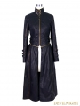 Black and Bronze Gothic Punk Metal PU Coat for Women