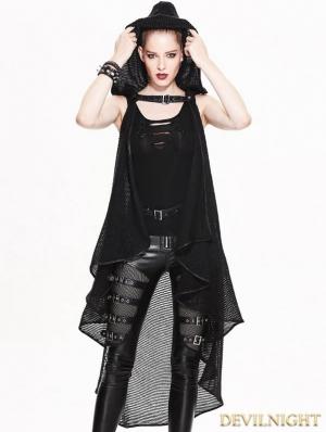 Black Gothic Irregular Vest for Women