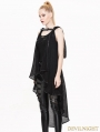 Black Gothic Irregular Vest for Women