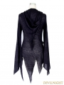 Black Gothic Punk Asymmetric Hooded Sweater for Women