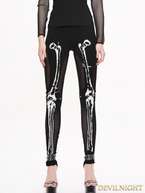 Black Gothic Skull Pattern Mesh Legging for Women