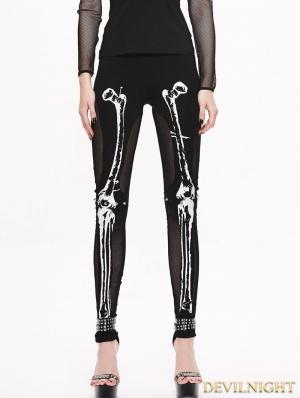 Black Gothic Skull Pattern Mesh Legging for Women