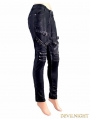 Black and Sliver Gothic Buckle Belt PU Pants for Women