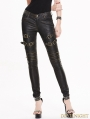 Black and Bronze Gothic Buckle Belt PU Pants for Women