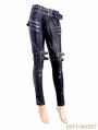 Black and Sliver Gothic Buckle Belt Rivet PU Pants for Women