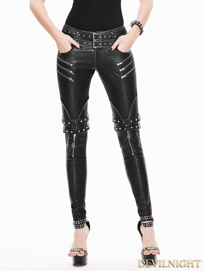 Black and Sliver Gothic Buckle Belt Rivet PU Pants for Women