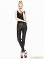 Black and Bronze Gothic Buckle Belt Rivet PU Pants for Women
