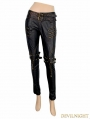 Black and Bronze Gothic Buckle Belt Rivet PU Pants for Women
