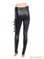 Black Gothic Buckle Belt Mesh Legging for Women