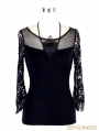 Black 3/4 Sleeves Gothic Halter Shirt for Women