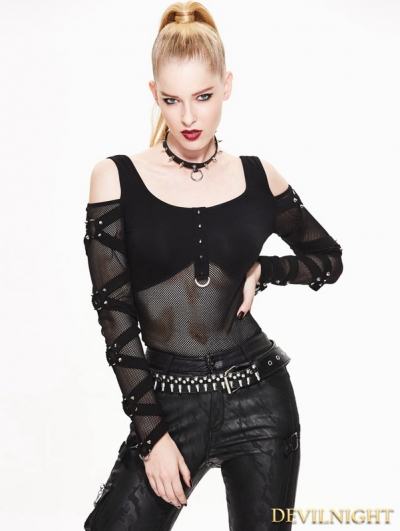 Black Off-the-Shoulder Gothic Punk Mesh T-Shirt for Women