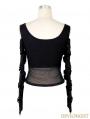 Black Off-the-Shoulder Gothic Punk Mesh T-Shirt for Women
