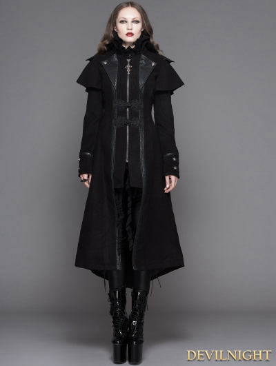 Black Vintage Gothic Long Cape Design Coat for Women