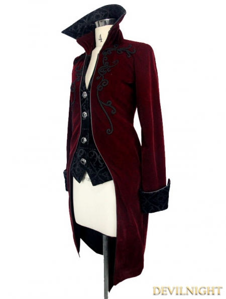 c4795c9c242a98 Wine Red Gothic Palace Style Long Coat for Women - Devilnight.co.uk