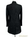 Black Double-Breasted Gothic Military Style Short Jacket for Men