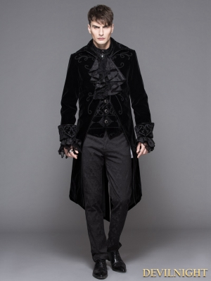 Black Gothic Palace Style Long Coat for Men