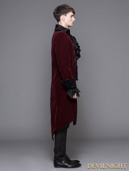 34895d5c3a8739 Wine Red Gothic Palace Style Long Coat for Men - Devilnight.co.uk