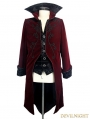 Wine Red Gothic Palace Style Long Coat for Men