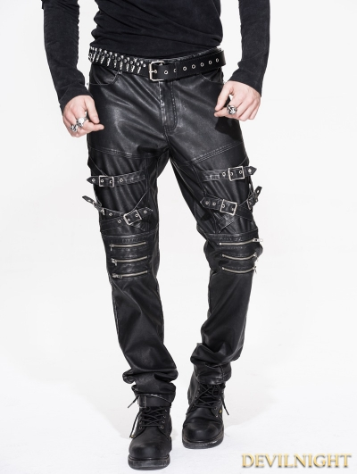 Black and Sliver Gothic Punk PU Buckle Blet Pants for Men