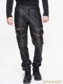 Black and Bronze Gothic Punk PU Buckle Blet Pants for Men