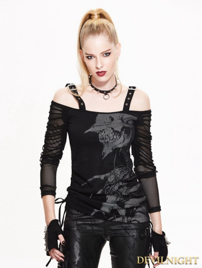 Black Off-the-Shoulder Gothic Punk T-Shirt for Women