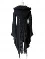 Alternative Black Gothic Hooded Long Sweater for Women