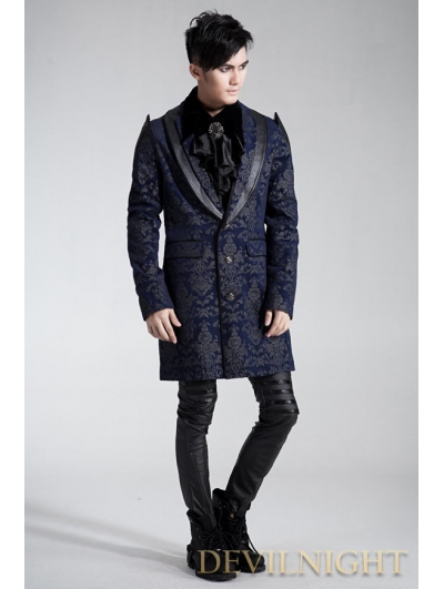 SALE!Blue Pattern Gothic Long Jacket for Men