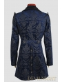 Blue Pattern Gothic Long Jacket for Men