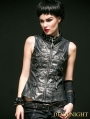 Black and Sliver Gothic Steampunk Hand-Rub Leather Vest for Women