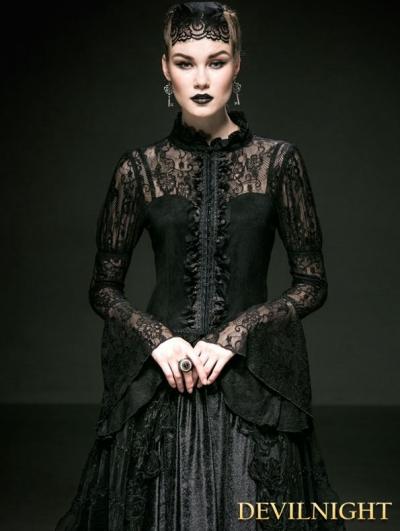 SALE!Romantic Black Gothic Lace Blouse for Women
