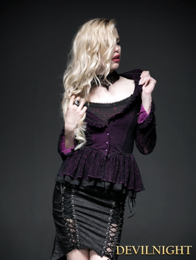 SALE!Purple Gothic Two-Tone Plain Flocking Mesh Long Sleeves Outfit for Women