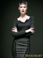 Black Cotton Long Sleeves Gothic Shirt for Women