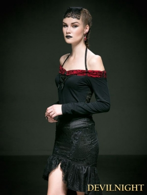 Black Cotton Halter Off-the-Shoulder Gothic Sexy Shirt for Women