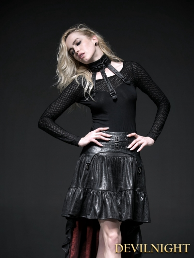 Black Buckle Belt Gothic Punk Shirt for Women