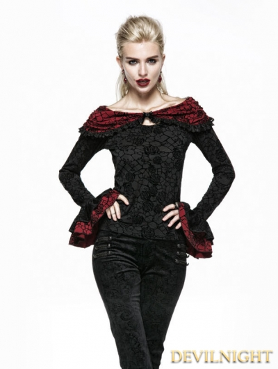 SALE!Black Rose Flocking Gothic Cape Shirt
