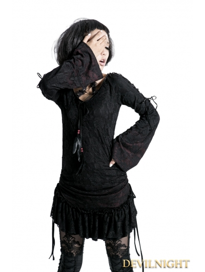 SALE!Black Gothic Lace Long Shirt for Women