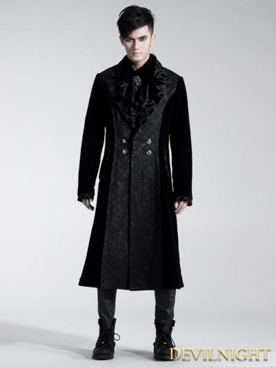 Black Velvet Gothic Long Coat for Men