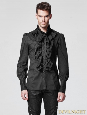 Black Ruffles Gothic Blouse for Men