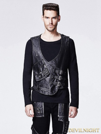 SALE!Leather Gothic Steampunk Vest for Men