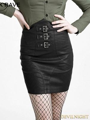 Black Gothic High-Waist Skirt