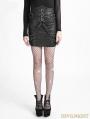 Black Gothic Punk Bandage High-Waist PU Skirt