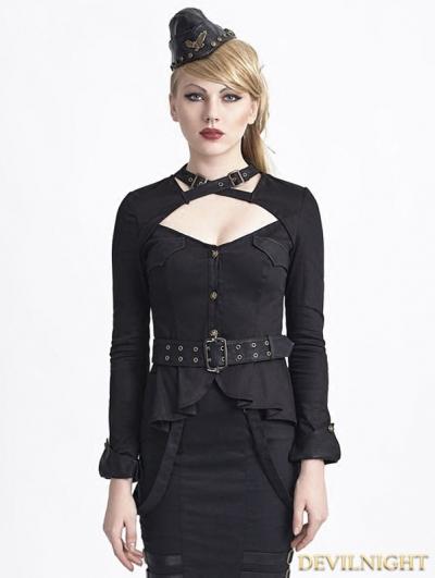 Black Gothic Uniform Style Shirt for Women