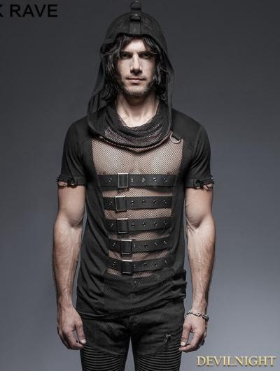 SALE!Black Gothic Hooded Mesh T-Shirt for Men