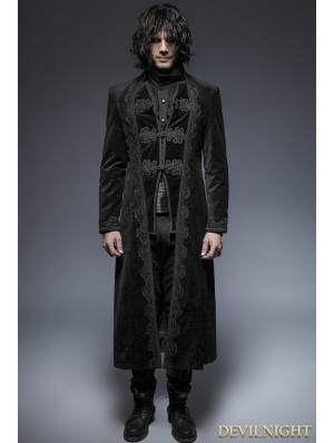 Black Gorgeous Vintage Style Gothic Long Coat for Men