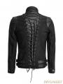 Black Gothic Punk Handsome Soldier Jacket for Men