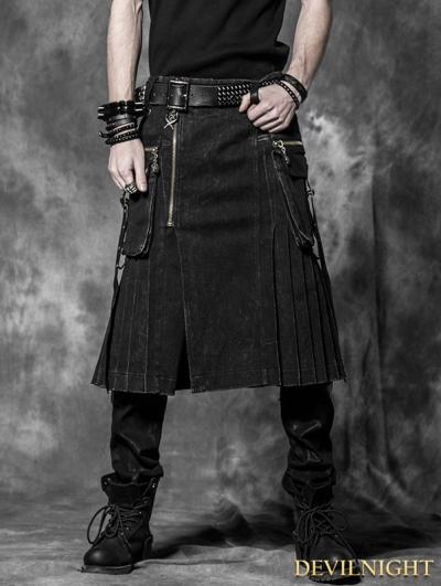 SALE!Black Gothic Punk Skirt for Men