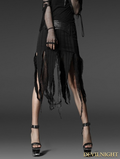 Black Gothic Jacquard Torn Skirt