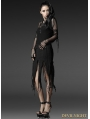 Black Gothic Jacquard Torn Skirt
